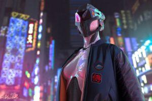 futuristic futuristic city cyberpunk tony skeor robot digital art boobs