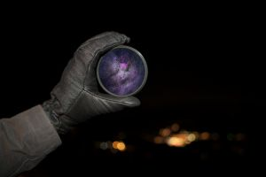 galaxy photography gloves lens night closeup lights black background hands bokeh stars space universe depth of field