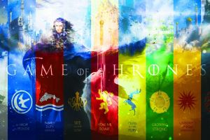 game of thrones collage fantasy art tv series colorful