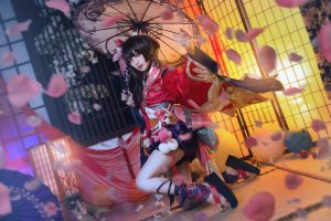 geisha asian cosplay dark hair umbrella women model