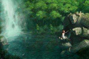 giant children fantasy art waterfall golem illustration landscape lagoon forest
