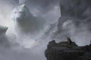 giant illustration mountains fantasy art warrior