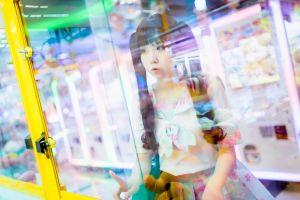 glass sailor uniform indoors depth of field women indoors schoolgirl women pigtails asian portrait model dark hair arcade