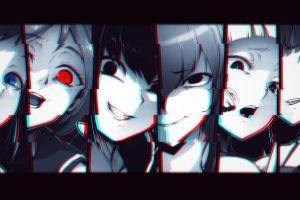 glitch art anime girls monochrome glitch art monochrome