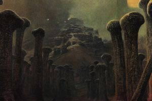 gloomy polish creepy spooky dark magic realism painting detailed artwork traditional art bones horror nightmare fantasy art zdzisław beksiński