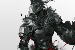 goblin slayer white background blood arrows armor