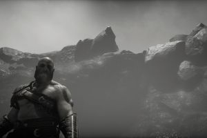 god of war 2018 (year) kratos god of war (2018) screen shot monochrome video games