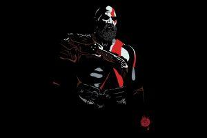 god of war video game art black warrior black background simple background fantasy men game poster video games red beards