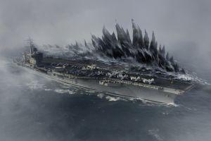 godzilla mist ship photo manipulation artwork sea aircraft
