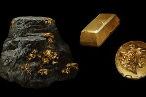 gold rocks jewels coin betty jiang black background
