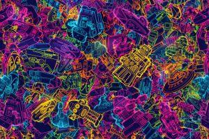 gradient colorful robot artwork
