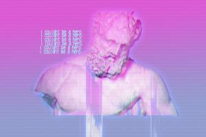 gradient pink vaporwave classical art