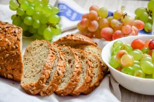 grapes food bread fruit