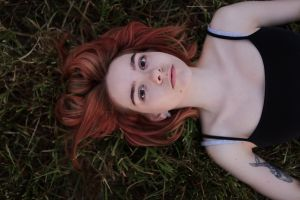 grass aleks five model women lying on back dyed hair tattoo outdoors top view portrait women outdoors looking at viewer face pale bokeh