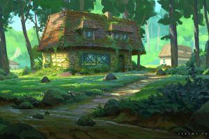 grass forest plants house moss trees building rocks jeremy fenske road