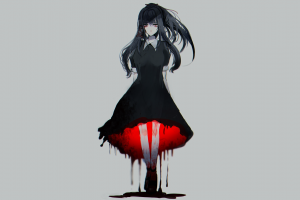 gray gloomy simple background anime anime girls manga minimalism red eyes blood turquoise hair