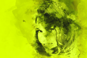 green portrait green background watercolor lily james