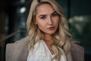 grey coat portrait closeup make up model white shirt long hair blonde blue eyes makeup women