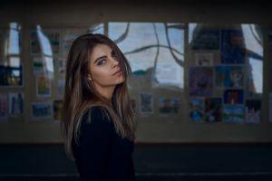 hair in face women gray eyes bokeh alexander kan women indoors model brunette looking at viewer indoors portrait