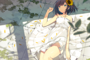 hair ornament artwork anime flower in hair anime girls leaves lying on back dress women white dress original characters green eyes illustration on the floor bokeh