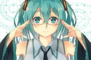 hair ornament long hair blue hair anime girls cyan hair glasses hatsune miku blue eyes vocaloid