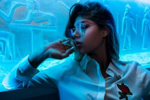 hands in hair hieroglyphics face neon sensual gaze women glasses looking away dyed hair open mouth cyan women with glasses
