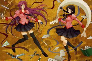 hanekawa tsubasa monogatari series artwork anime senjougahara hitagi yellow school uniform japanese art anime girls white skin
