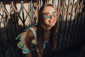 happy outdoors model evgeny freyer portrait women teeth smiling women with shades necklace bokeh brunette dress women outdoors long hair