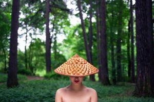 hat depth of field face bare shoulders forest trees model women with hats women outdoors red lipstick portrait outdoors women yury semenov lips