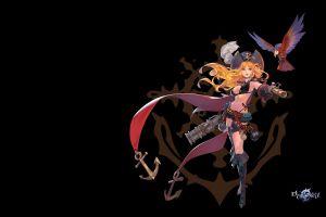 hat parrot anime simple background anime girls pirates gun blonde long hair