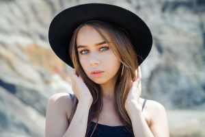 hat touching hair long hair sergey efremov women with hats face women straight hair black hat millinery portrait blue eyes