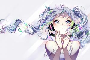 headphones hatsune miku vocaloid long hair
