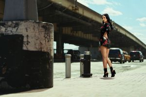 heels model women urban hands on hips street car playsuit looking at viewer dark hair women outdoors