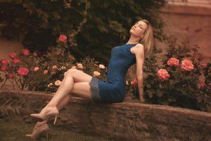 high heels sitting closed eyes flowers legs blue dress blonde women laurent kacé