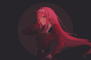 horns zero two (darling in the franxx) pink hair anime darling in the franxx anime girls picture-in-picture picture-in-picture