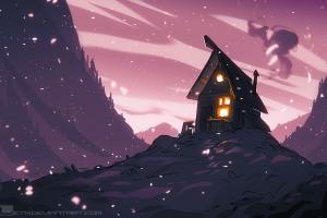 hut landscape deviantart mleth