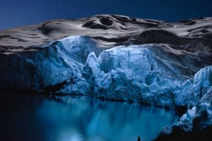 ice iceberg snow nature reuben wu blue winter silhouette stars lake water clear sky landscape night reflection