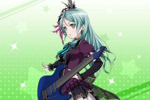 idol anime girls anime long hair guitar