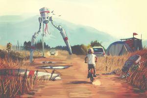 illustration artwork digital art landscape robot science fiction car painting fan art tripod children futuristic
