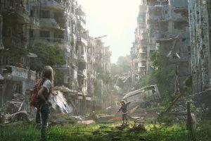 illustration destruction artwork apocalyptic women children city futuristic miguel membreño war fan art