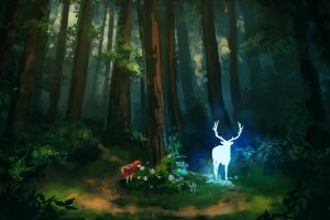 illustration drawing fan art little red riding hood deer forest