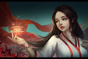 illustration miko digital art artwork jingwen lin long hair fantasy art brunette fantasy girl flowers bokeh women magic