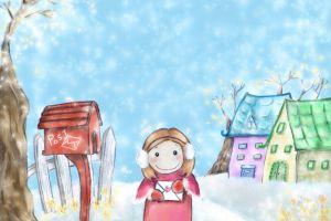 illustration smiling children mailbox