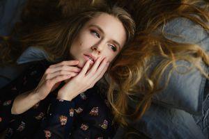 in bed blonde sergey fat natalya makaruk portrait lying down blue eyes women