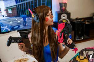 indoors tattoo cosplay women living rooms lure suicide headphones computer inked girls overwatch suicide girls depth of field painted nails d.va (overwatch) gamers