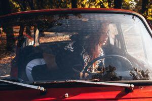 inside a car car model inga sunagatullina kneeling roma roma bent over women outdoors belly redhead portrait sportswear open door red cars women