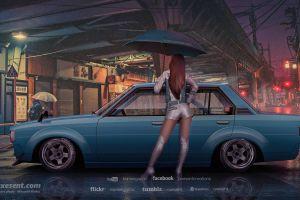 japanese cars toyota toyota corolla blue cars street jdm axesent creations side view umbrella rain render