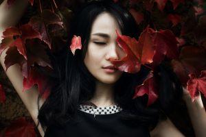 japanese women plants dark hair closed eyes asian women face leaves