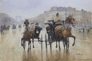 jean beraud classical art painting cityscape paris artwork horse