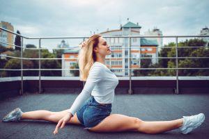 jean shorts dmitry yavr women legs blonde